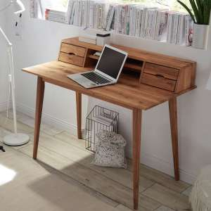 Molton Wooden Computer Desk In Knotty Oak With 4 Drawers