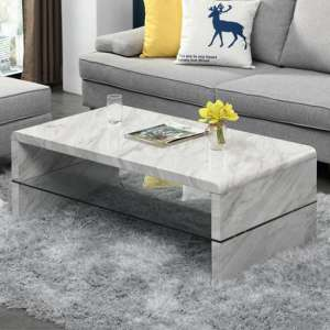 Momo High Gloss Coffee Table In Magnesia Marble Effect With Undershelf
