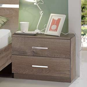 Monoceros Wooden Bedside Cabinet In Muddy Oak With 2 Drawers