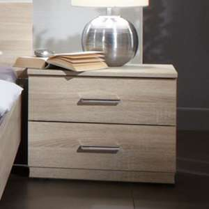 Monoceros Wooden Bedside Cabinet In Oak With 2 Drawers