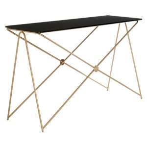 Monora Black Glass Console Table With Gold Metal Legs