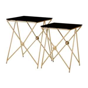 Monora Set Of 2 Black Glass Side Tables With Gold Metal Legs
