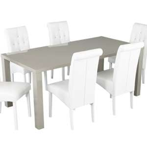 Monroe Curio Wooden Large Dining Table In Stone