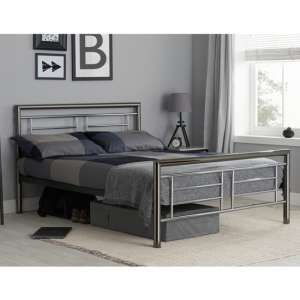 Montana Steel King Size Bed In Chrome And Nickel