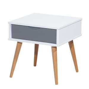 Montana Wooden Side Table In White And Grey