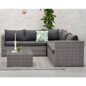 Montella Corner Sofa Group With Coffee Table In Organic Grey