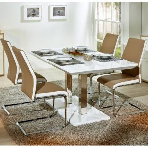 Edmonton Extendable Dining Set White Gloss 4 Marine Beige Chairs