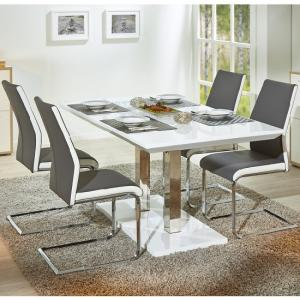 Edmonton Extendable Dining Set White Gloss 4 Marine Grey Chairs