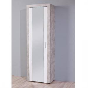 Monton Mirror Shoe Cupboard In Concrete And White High Gloss