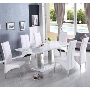 Monton Extendable Dining Table With 6 Vesta Chairs In White