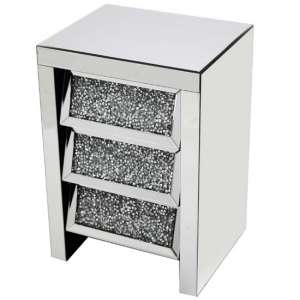Montrez Mirrored Bedside Cabinet Angled With 3 Drawers