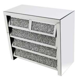 Montrez Mirrored Chest Of Drawers Angled With 5 Drawers