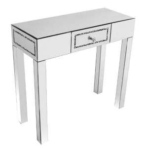 Montrez Mirrored Crushed Diamond Console Table With 1 Drawer