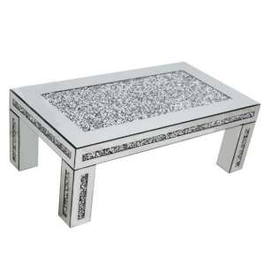 Montrez Mirrored Rectangular Coffee Table With Crystals