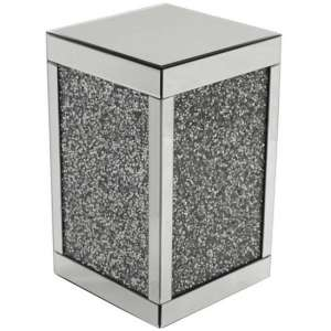 Montrez Mirrored Cube Pedestal With Shining Crystals