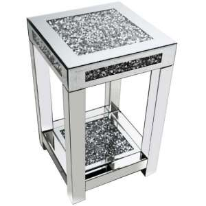 Montrez Mirrored Medium Side Table With Shelf