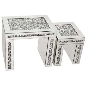 Montrez Mirrored Set Of 2 Nest Of Tables