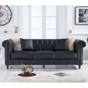 Montrose Leather 3 Seater Sofa In Black