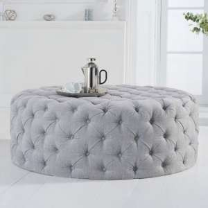 Montrose Velvet Large Round Footstool In Grey