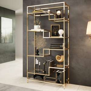 Monza Clear Glass Display Stand In Gold Stainless Steel Frame