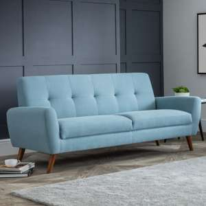 Monza Linen Compact Retro 3 Seater Sofa In Blue