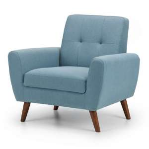 Monza Linen Compact Retro Lounge Chaise Armchair In Blue