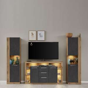 Monza Living Room Set In Wotan Oak And Matera With LED