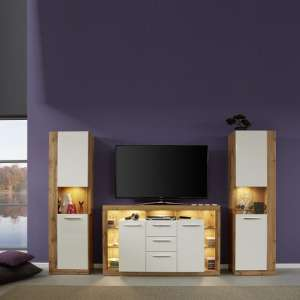 Monza Living Room Set In Wotan Oak Gloss White Fronts And LED