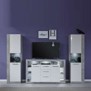 Monza Living Room Set In Grey With Gloss White Fronts And LED