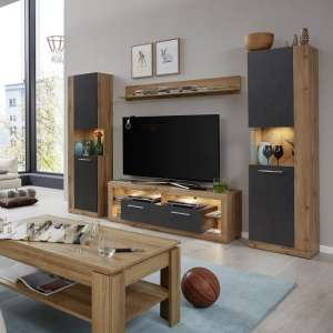 Monza Living Room Set 1 In Wotan Oak And Matera With LED