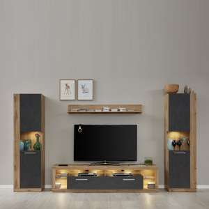 Monza Living Room Set 2 In Wotan Oak And Matera With LED
