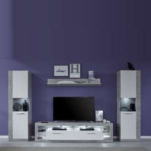 Monza Living Room Set 2 In Grey Gloss White Fronts With LED