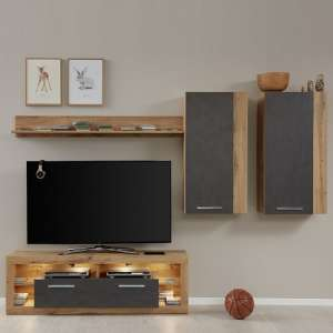 Monza Living Room Set 4 In Wotan Oak And Matera With LED