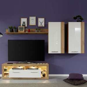Monza Living Room Set 4 In Wotan Oak Gloss White Fronts LED