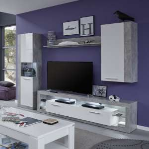 Monza Living Room Set 5 In Grey Gloss White Fronts With LED