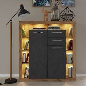 Monza Wooden Highboard In Wotan Oak And Matera With LED