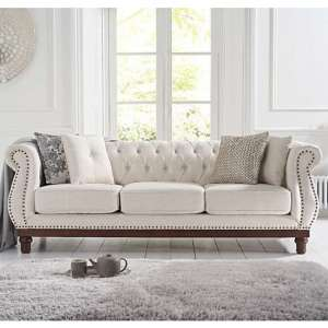Morava Linen 3 Seater Sofa In Ivory