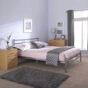 Morgan Metal Double Bed In Silver