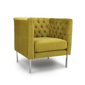 Morgen Arm Chair In Goldenrod Brushed Velvet With Steel Legs
