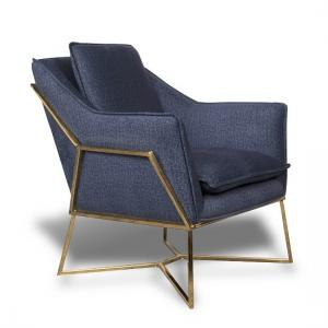 Morley Lounge Chair In Midnight Blue Denim Effect Golden Frame