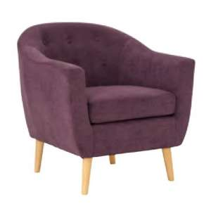 Morrill Woven Fabric Accent Chair In Plum With Oak Legs