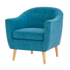 Morrill Woven Fabric Accent Chair In Teal With Oak Legs