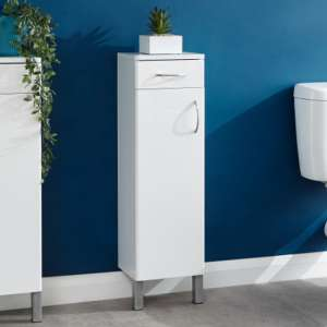 Mortos 1 Door 1 Drawer Bathroom Cabinet In White High Gloss
