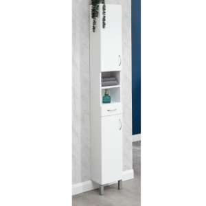 Mortos 2 Doors 1 Drawer Tall Bathroom Cabinet In White Gloss