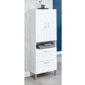 Mortos 2 Doors 2 Drawers Bathroom Cabinet In White High Gloss