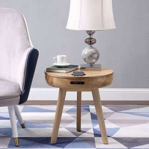 Morvik Wooden Smart Lamp Table Round In Ash
