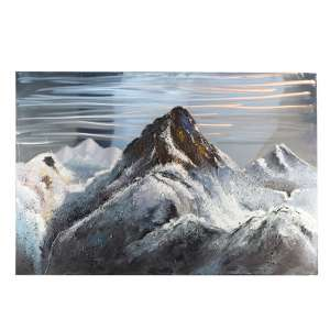 Mountain 3D Picture Canvas Wall Art In Silver And Grey