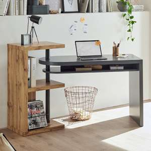 Moura Wooden Swilleing Computer Desk In Grey