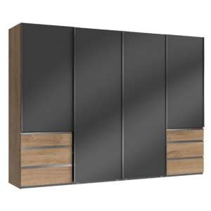 Moyd Wooden Sliding Wardrobe In Grey And Planked Oak 4 Doors