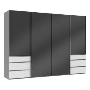 Moyd Wooden Sliding Wardrobe In Grey And White 4 Doors